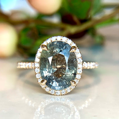 3.68 carat Green Blue Sapphire Halo Engagement Ring in Yellow Gold by Dana Walden Bridal