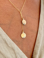 Lariat Initial Necklace in yellow Gold Worn on Neck