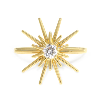 Handmade sculptural starburst ring in yellow gold with 0.25ct diamond center stone. Handmade by Dana Walden Bridal Jewelry NYC.