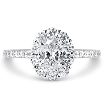 Chunky oval diamond halo with 1.42ctw lab created diamonds in white gold by Dana Walden Bridal NYC