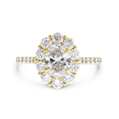 Lab diamond oval halo engagement ring, handmade by Dana Walden Jewelry NYC.