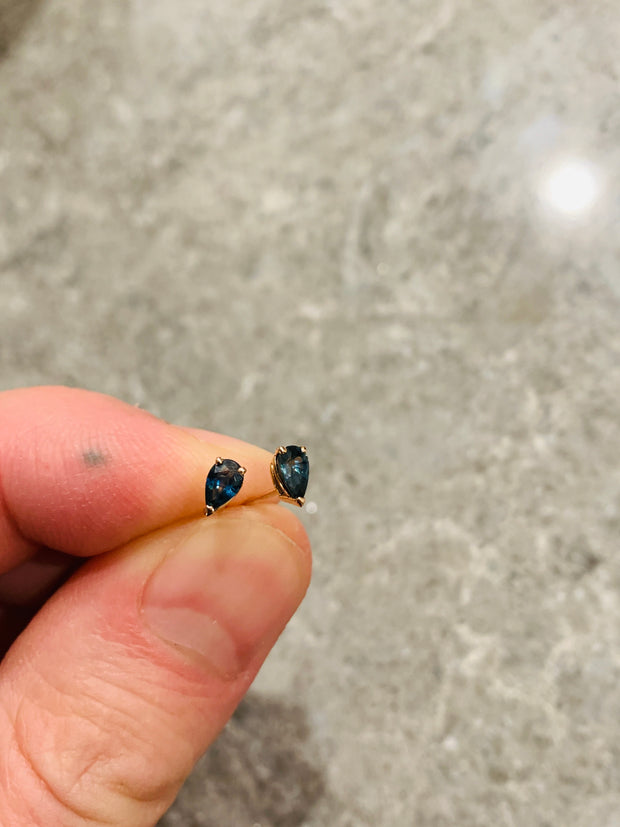 Marleigh Pear Shaped Teal Sapphire Stud Earrings in Rose Gold