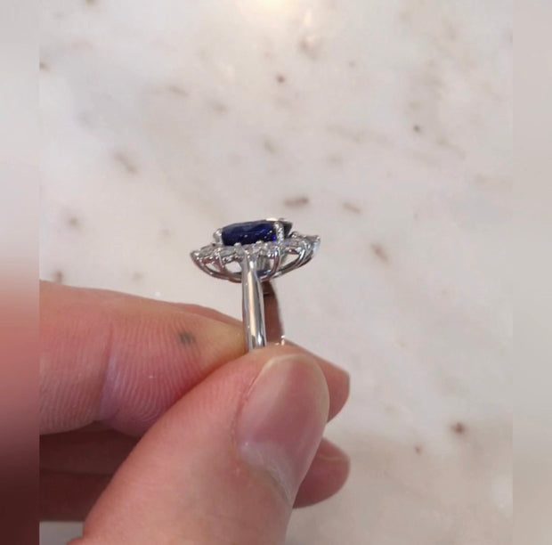 London 3ct Oval Blue Sapphire Halo <br/> Engagement Ring