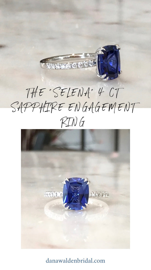 blue sapphire engagement ring - 4 carat eco friendly unique lab created sapphire - dana walden bridal NYC
