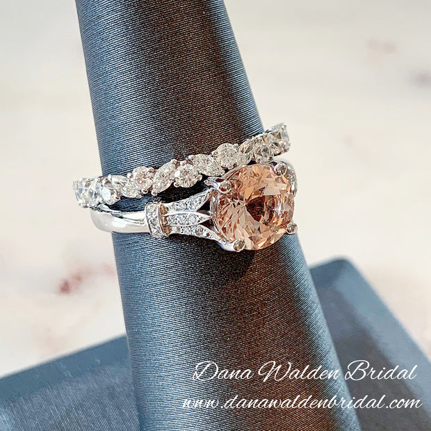 Diamond Wreath Wedding Band with Morganite Custom Engagement Ring in Platinum