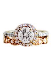 Lenore rose gold and platinum diamond halo engagement ring