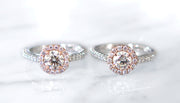 Lenore rose gold and diamond halo engagement rings by Dana Walden Bridal