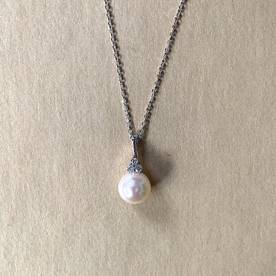 Handmade fine jewelry by Dana Walden Jewelry. White gold, pearl, and diamond necklace ships in 2-3 days.