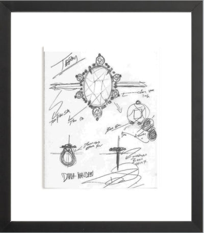 TERRY Engagement Ring Sketch (Framed Print)