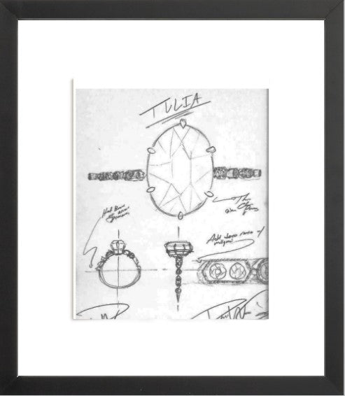 TULIA Engagement Ring Sketch (Framed Print)