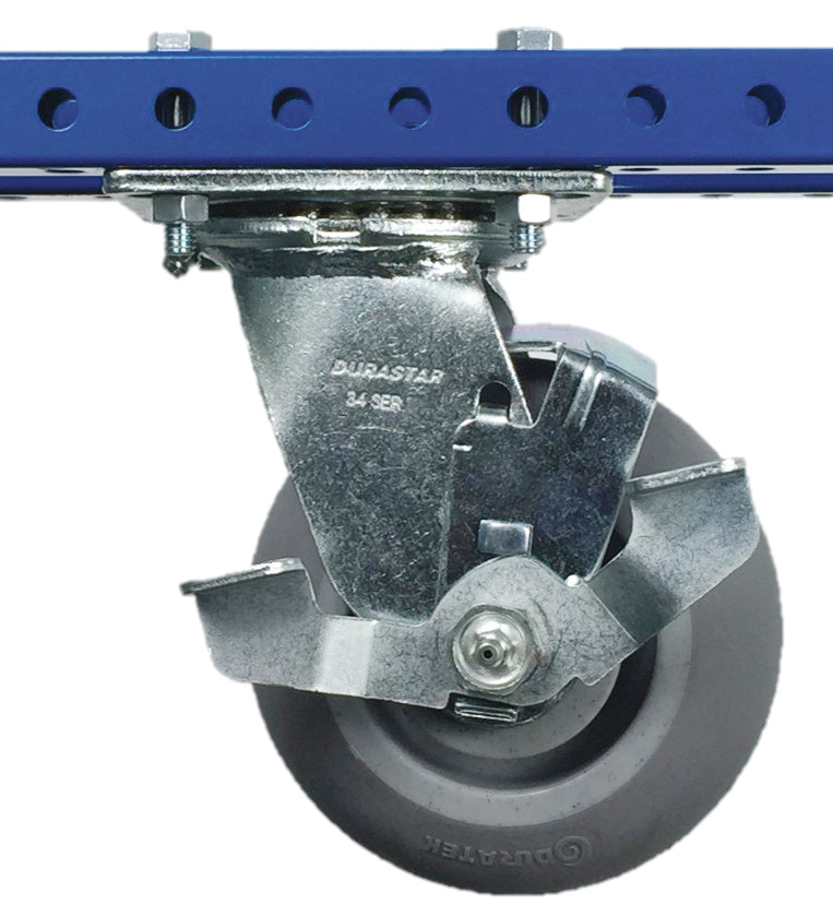 "6"" Rubber Swivel Plate Caster with Brake - 600 lb Weight Limit"