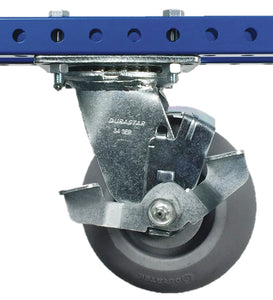 "5"" Rubber Swivel Plate Caster with Brake - 500 lb Weight Limit"