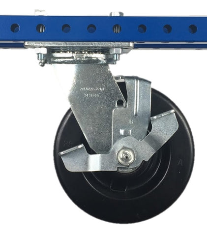"5"" Polyolefin Swivel Plate Caster with Brake - 650 lb Weight Limit"