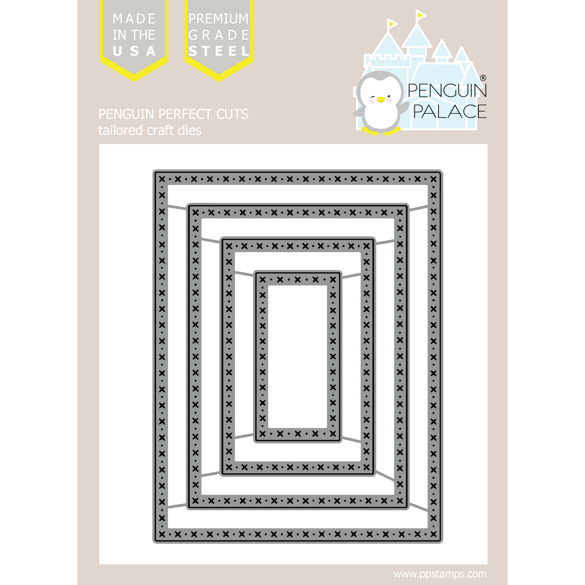 Cross Stitched and Dots Large Rectangle Overlays - Stand-Alone Die