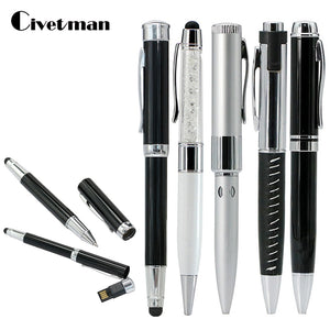 Hot Sale Metal Ballpoint Pen USB Flash Drive 4GB 8GB 16GB 32GB 64GB Multi-function USB 2.0 Flash Memory Stick Pen Drive USB Disk