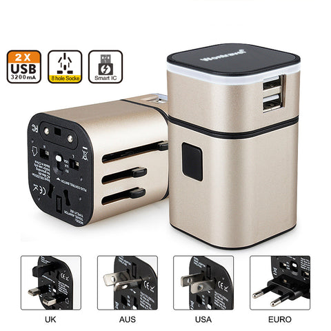 International Plug Adapter 2 USB - AU US UK EU - Far Far Travel