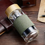 Glass Water Bottle with Tea Infuser & Cover