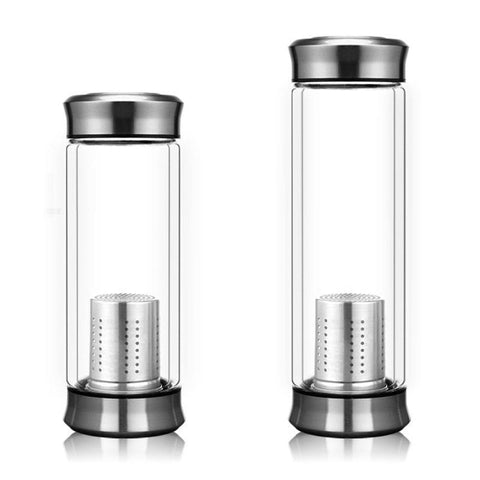 Double Wall Glass Bottle with Stainless Steel Tea Infuser