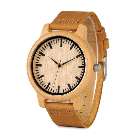Bamboo Luxury Watch with Leather Strap - Far Far Travel