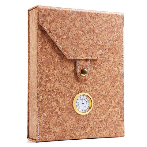 Portable Cigar Case with Humidor Leather Wood