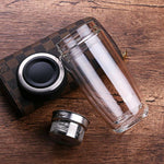 Double Glass Water Bottle With Stainless Steel Filter Tea Car Mounted