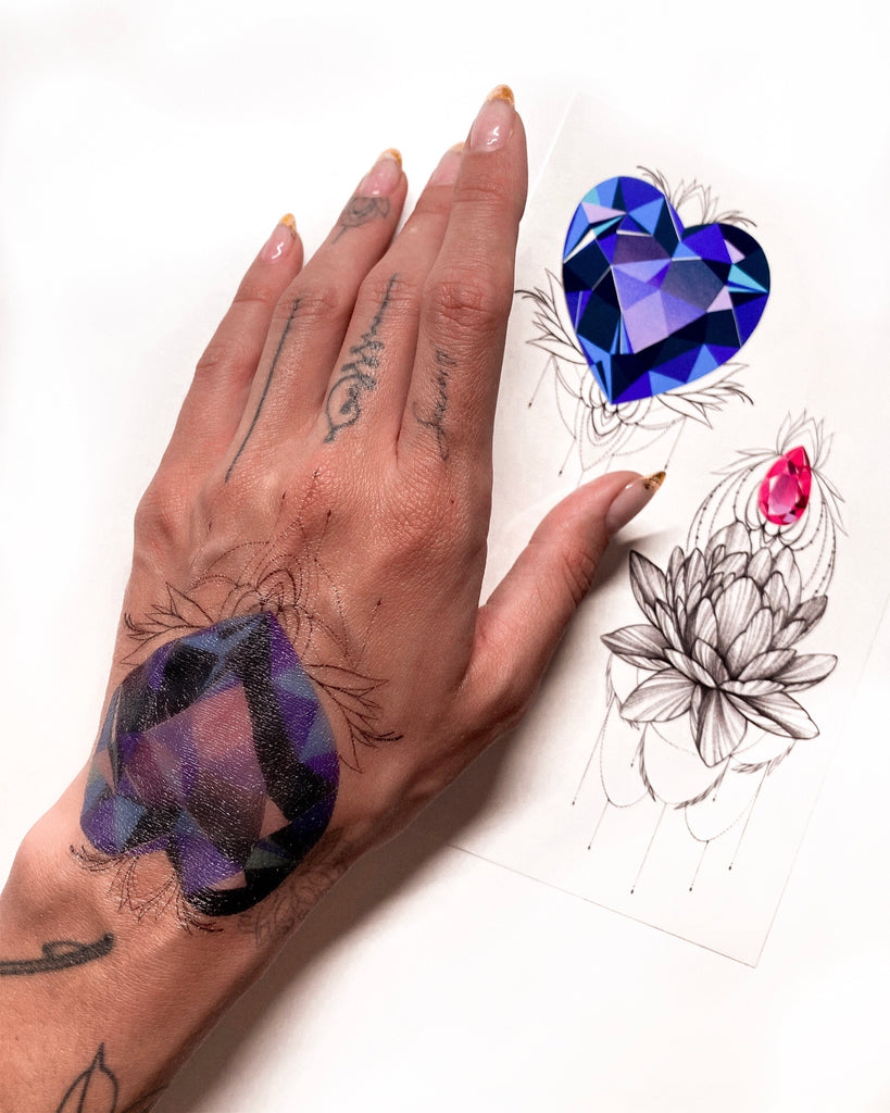 """Crystal Heart"" Tattoo Set"