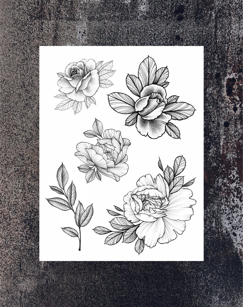 NEW Big Floral Tattoo set