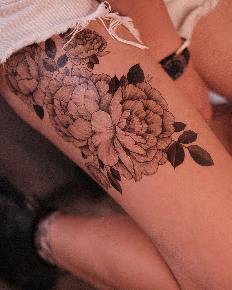 "Top Seller tattoo ""Big Blossom Black leaves"""