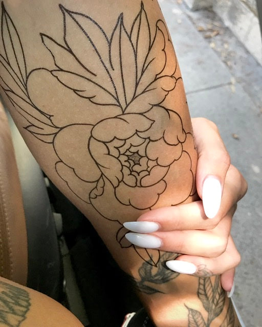 """Line Peonies"" tattoo set"