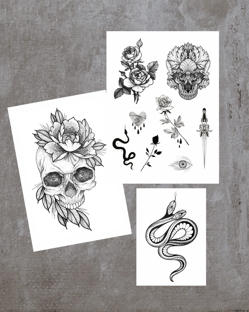 Snakes&Skulls tattoo set