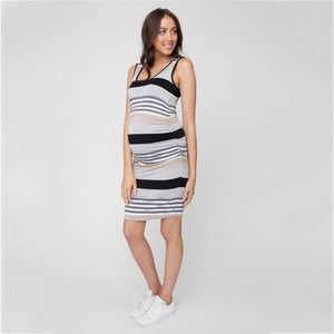 Maternity and Nursing Dress Black Stripes