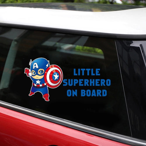 Little Superhero Captain America Car Sticker