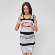 Load image into Gallery viewer, Maternity and Nursing Dress Black Stripes