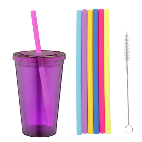 Reusable Silicone Smoothies Straw Straight