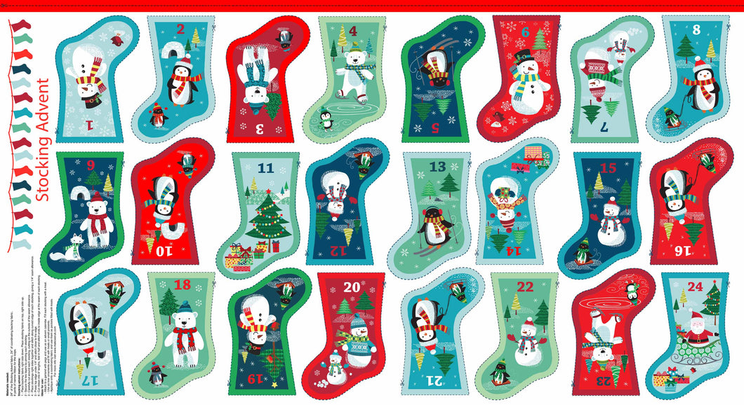 Makower: Frosty Mini Stocking Advent Bunting 1587/1