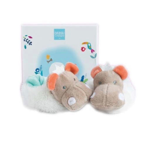 Doudou et Compagnie - Tropical Hippo Rattle Booties