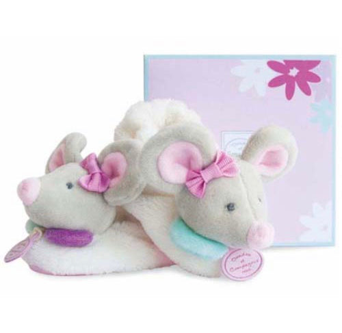 Doudou et Compagnie - Pearly Mouse Rattle Booties