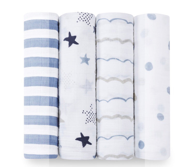 Aden and Anais- 4pk Swaddles- Rock Star