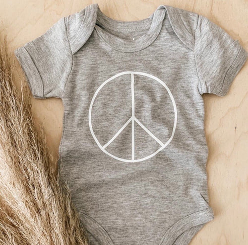 Grey Peace Baby Grow