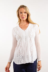 Sara - Cotton Blouse with Lace