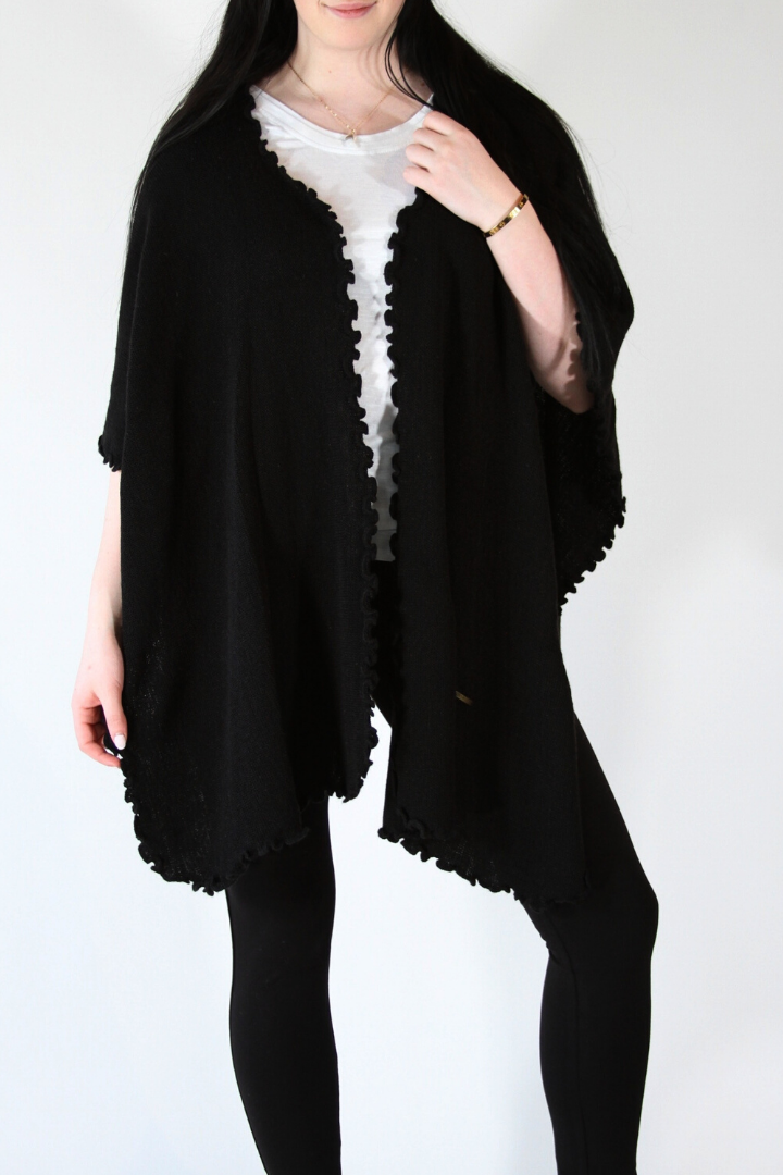 Alpaca Blended Shawl - Black
