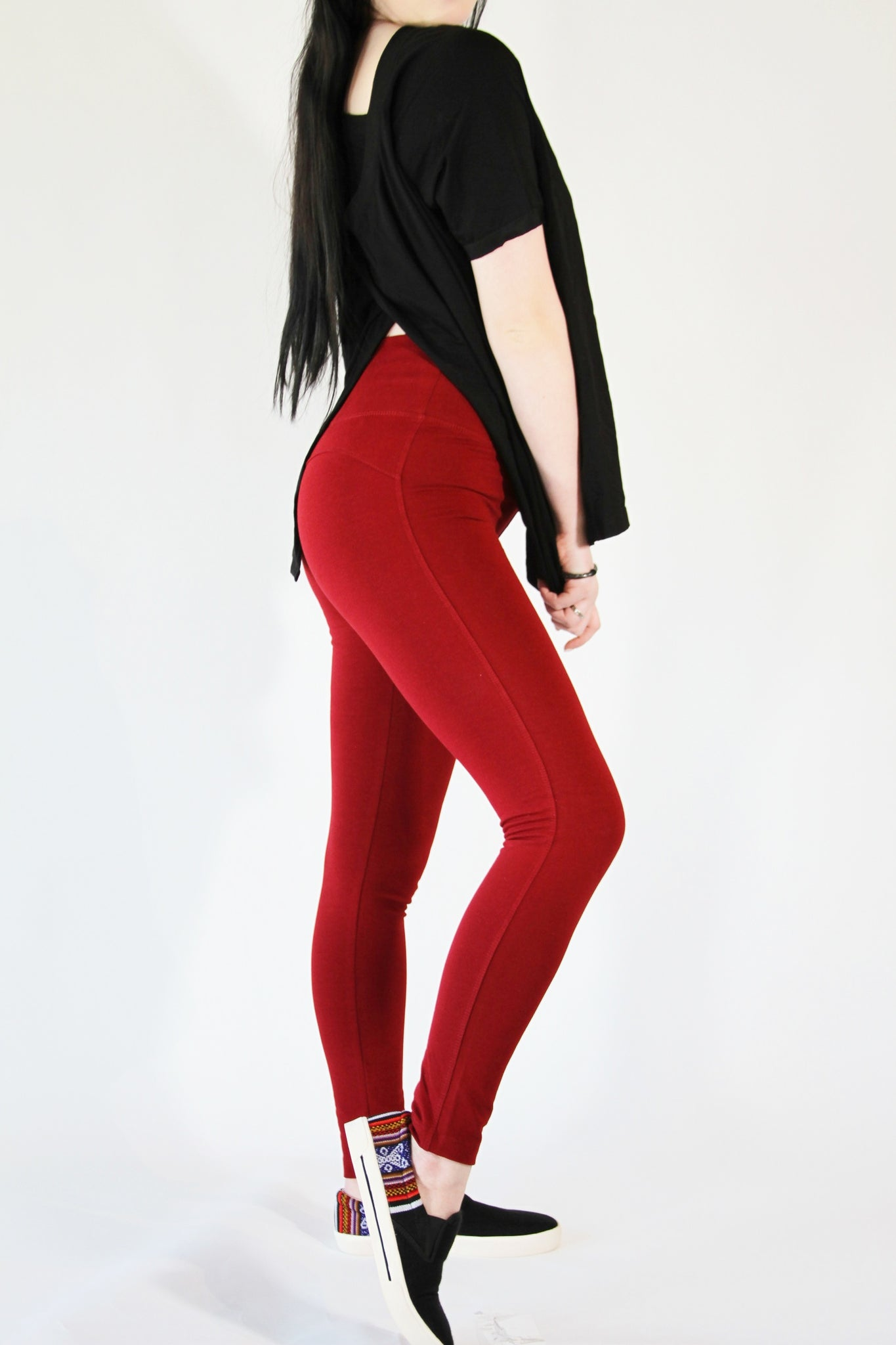 Leggings-Pima cotton and spandex Red