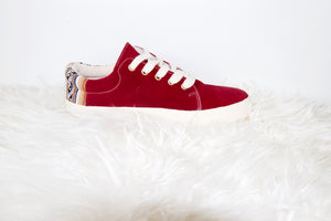 Suede Low Top Shoe Maroon