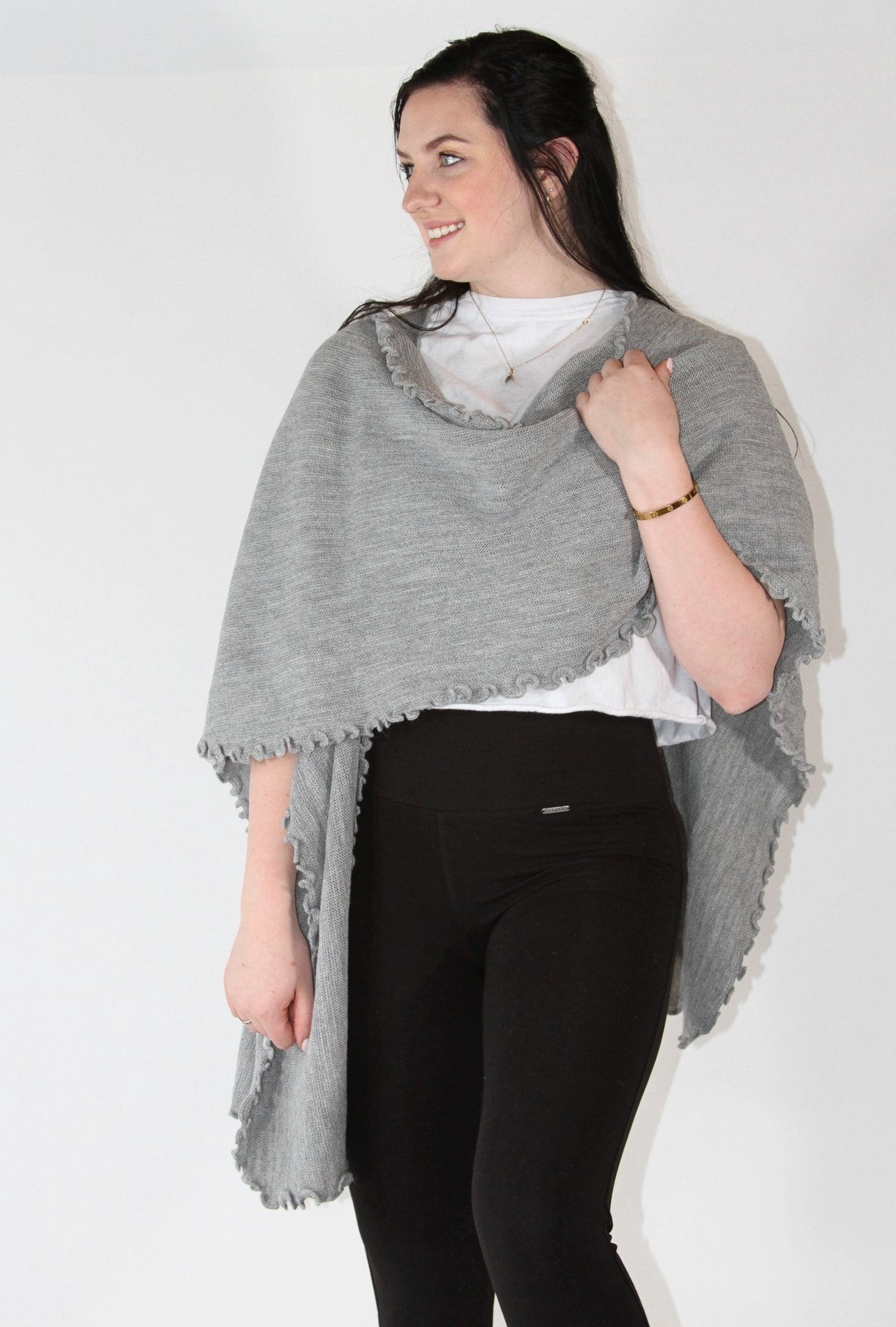 Alpaca Blended Shawl - Gray