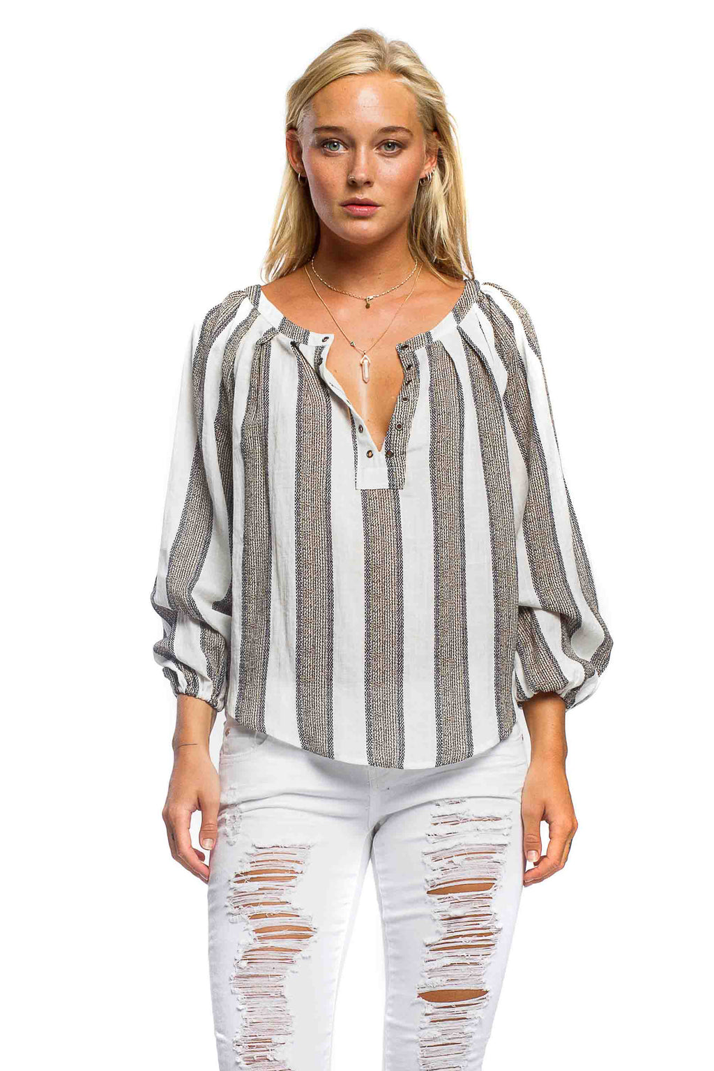 S17-150 Linen Striped Blouse