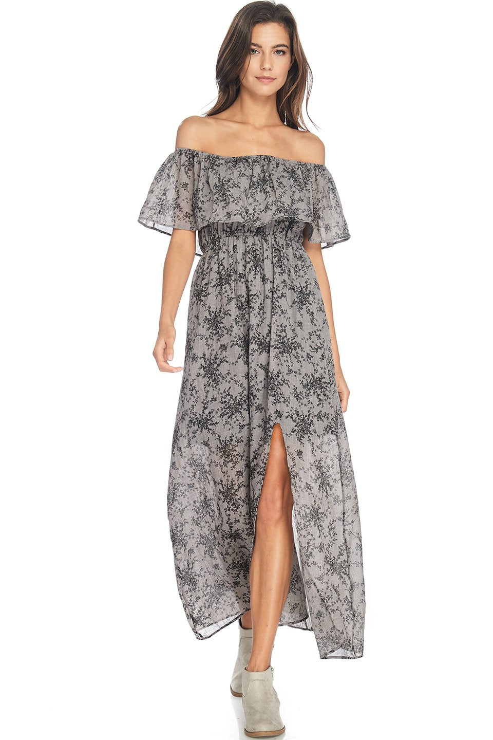S18-265 Off The Shoulder Floral Maxi Dress