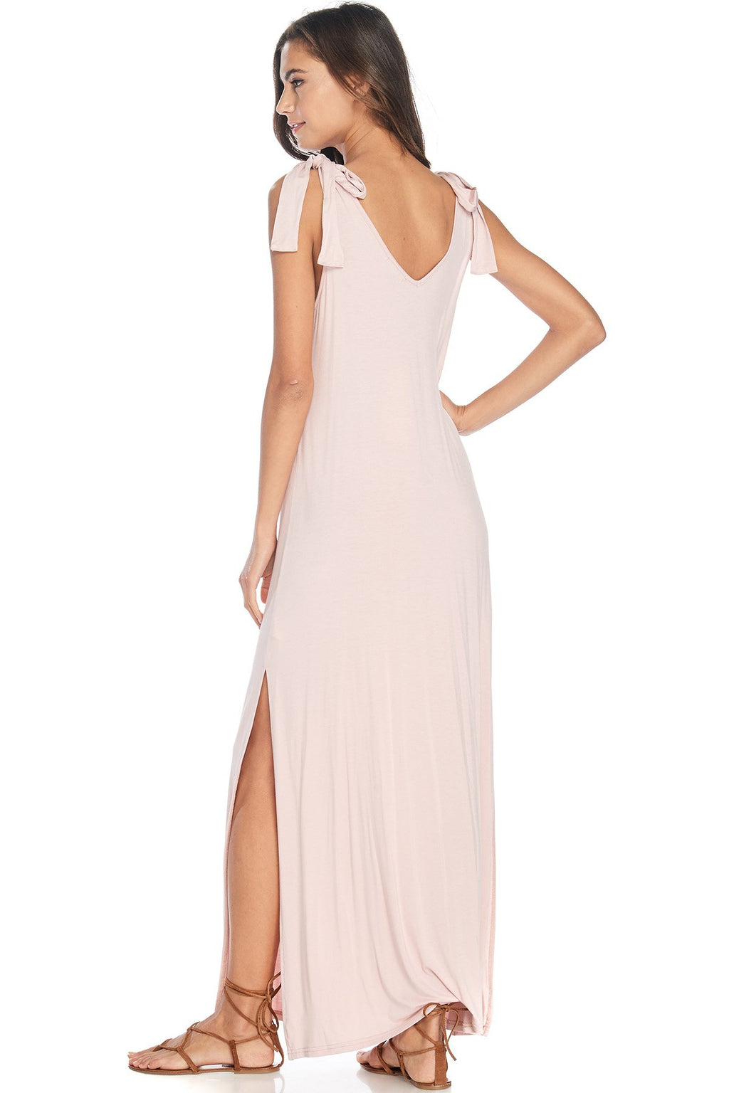 S18-266 Shoulder Tie Maxi Dress