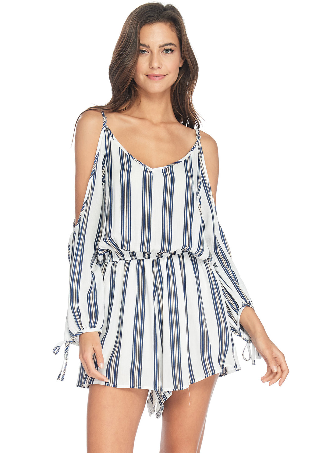 S18-267 Striped Cold-Shoulder Romper