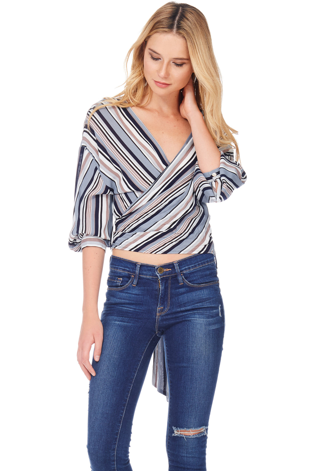 S18-001 Striped Wrap Top