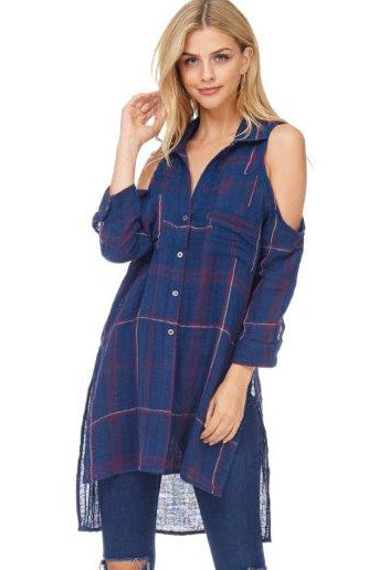 S18-022 Plaid Cold Shoulder Top